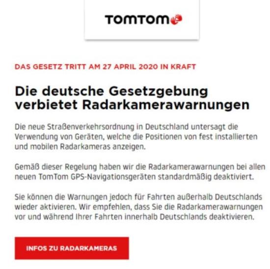 Info-Mail von TomTom: Radarkamerawarnung sollte abschalten werden